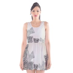 Background Retro Abstract Pattern Scoop Neck Skater Dress