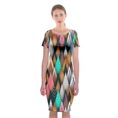Background Pattern Abstract Classic Short Sleeve Midi Dress