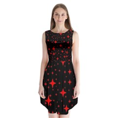 Bright Red Stars In Space Sleeveless Chiffon Dress