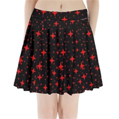 Bright Red Stars In Space Pleated Mini Skirt