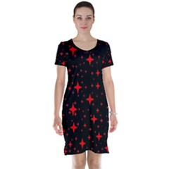 Bright Red Stars In Space Short Sleeve Nightdress