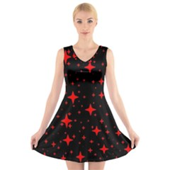 Bright Red Stars In Space V-Neck Sleeveless Skater Dress