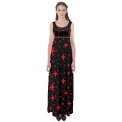 Bright Red Stars In Space Empire Waist Maxi Dress