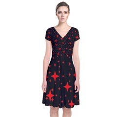 Bright Red Stars In Space Short Sleeve Front Wrap Dress