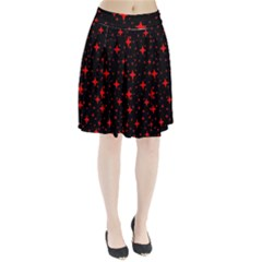 Bright Red Stars In Space Pleated Skirt
