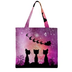 Cats Looking In The Sky At Santa Claus At Night Zipper Grocery Tote Bag