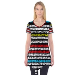Simple Colorful Design Short Sleeve Tunic