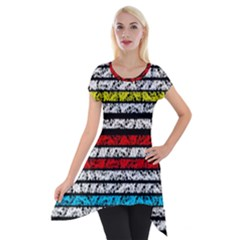 Simple Colorful Design Short Sleeve Side Drop Tunic