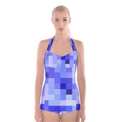 Pixie Blue Boyleg Halter Swimsuit
