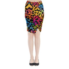 Colorful Hearts Camo Midi Wrap Pencil Skirt