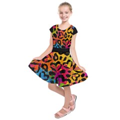 Colorful Hearts Camo Kids  Short Sleeve Dress