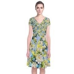 Background Backdrop Patterns Short Sleeve Front Wrap Dress