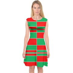 Christmas Colors Red Green pattern Capsleeve Midi Dress