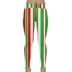 Christmas Holiday Stripes Red green Classic Yoga Leggings