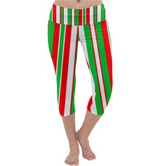 Christmas Holiday Stripes Red green Capri Yoga Leggings