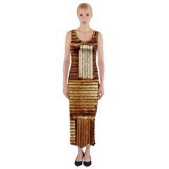 Brown Wall Tile Design Texture Pattern Fitted Maxi Dress