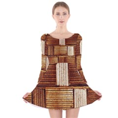 Brown Wall Tile Design Texture Pattern Long Sleeve Velvet Skater Dress