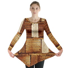 Brown Wall Tile Design Texture Pattern Long Sleeve Tunic