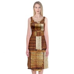 Brown Wall Tile Design Texture Pattern Midi Sleeveless Dress