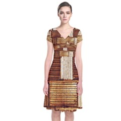 Brown Wall Tile Design Texture Pattern Short Sleeve Front Wrap Dress