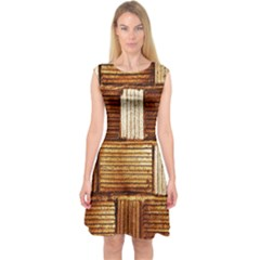 Brown Wall Tile Design Texture Pattern Capsleeve Midi Dress