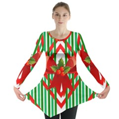 Christmas Gift Wrap Decoration Red Long Sleeve Tunic