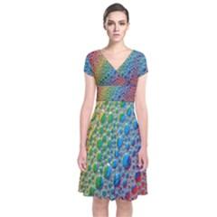 Bubbles Rainbow Colourful Colors Short Sleeve Front Wrap Dress