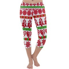 Christmas Icon Set Bands Star Fir Capri Yoga Leggings