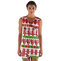 Christmas Icon Set Bands Star Fir Wrap Front Bodycon Dress