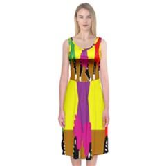 Foot Dance Midi Sleeveless Dress