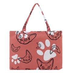 Face Cat Pink Cute Medium Tote Bag
