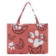 Face Cat Pink Cute Medium Zipper Tote Bag