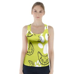 Face Cat Green Racer Back Sports Top