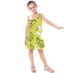Face Cat Green Kids  Sleeveless Dress