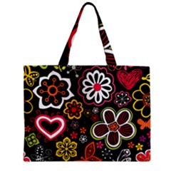 Flower Butterfly Zipper Mini Tote Bag