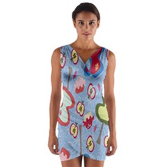 Fruit Apple Wrap Front Bodycon Dress