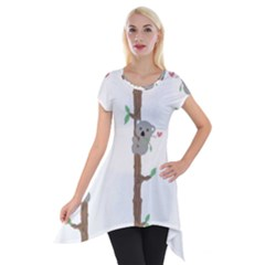 Koala Pattern Short Sleeve Side Drop Tunic