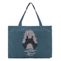 Man And Black Cat Medium Tote Bag
