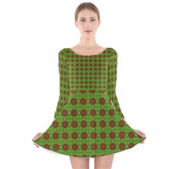Christmas Paper Wrapping Patterns Long Sleeve Velvet Skater Dress