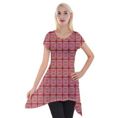 Christmas Paper Wrapping Pattern Short Sleeve Side Drop Tunic