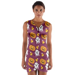Pumpkin Ghost Canddy Helloween Wrap Front Bodycon Dress