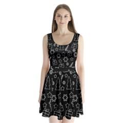 Simple Xmas Pattern Split Back Mini Dress