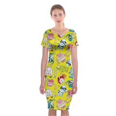 Robot Cartoons Classic Short Sleeve Midi Dress