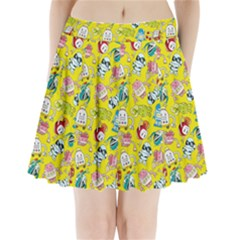 Robot Cartoons Pleated Mini Skirt