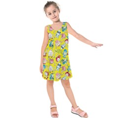 Robot Cartoons Kids  Sleeveless Dress