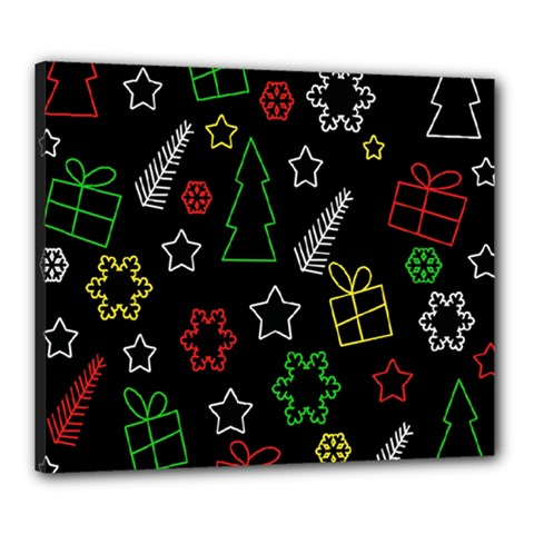 Colorful Xmas pattern Canvas 24  x 20