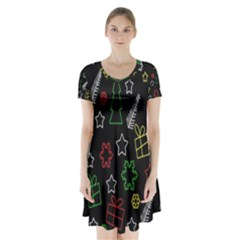 Colorful Xmas pattern Short Sleeve V-neck Flare Dress