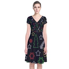 Colorful Xmas pattern Short Sleeve Front Wrap Dress