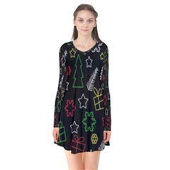 Colorful Xmas Pattern Flare Dress