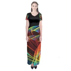 Dancing Northern Lights, Abstract Summer Sky  Short Sleeve Maxi Dress